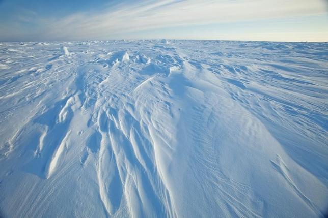 3月6日、英エクセター大学のチームが科学誌ネイチャー・クライメト・チェンジに発表した研究によると、2015年に約200カ国が同意した地球温暖化対策の新枠組み「パリ協定」が遵守されたとしても、今世紀中には夏季に北極の海氷が消滅する可能性がある。写真はアラスカのプルドー湾北部の北極海、2011年3月撮影(2017年 ロイター/Lucas Jackson)