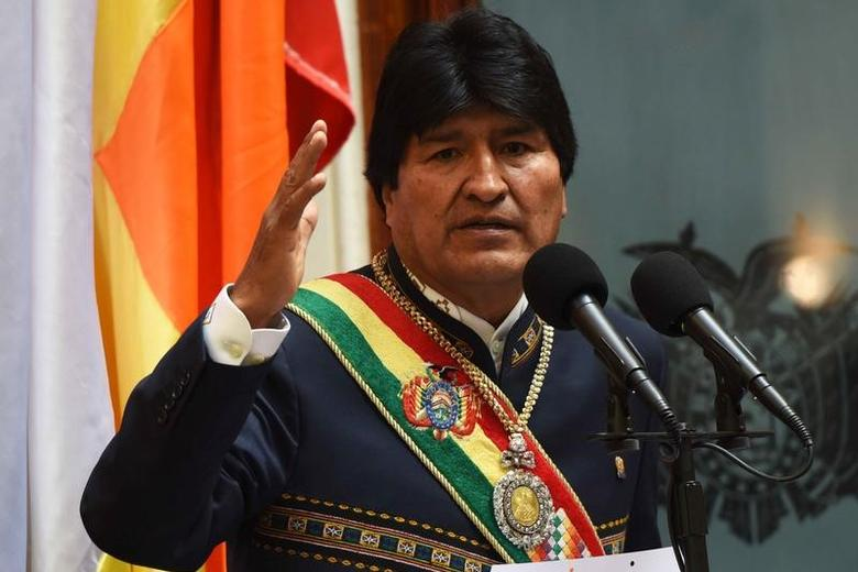 Bolivia's President Evo Morales speaks during a ceremony to mark 11 years of his administration during a session of congress in La Paz, Bolivia, January 22, 2017. Enzo De Luca/Courtesy of Bolivian Presidency/Handout via REUTERS/Files