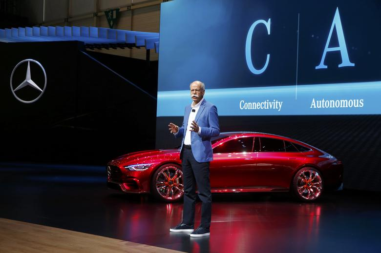 Dieter Zetsche, CEO of Daimler AG, speaks during presentation of Mercedes-AMG GT Concept car during the 87th International Motor Show at Palexpo in Geneva, Switzerland, March 7, 2017. REUTERS/Arnd Wiegmann