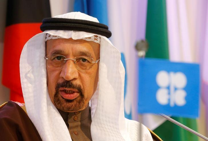 Saudi Arabia's Energy Minister Khalid al-Falih addresses a news conference after a meeting of the Organization of the Petroleum Exporting Countries (OPEC) in Vienna, Austria, December 10, 2016. REUTERS/Heinz-Peter Bader/File Photo