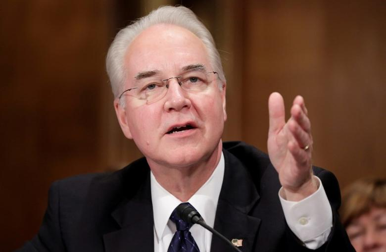 FILE PHOTO - Rep. Tom Price (R-GA) testifies before the Senate Health, Education, Labor and Pensions Committee on his nomination to be Health and Human Services secretary in Washington, U.S. on January 18, 2017.      REUTERS/Joshua Roberts/File Photo