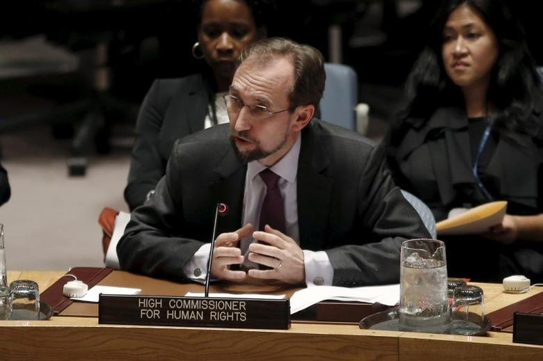 United Nations High Commissioner for Human Rights Zeid Ra'ad al-Hussein of Jordan addresses a meeting of the U.N. Security Council at U.N. headquarters in New York, December 10, 2015. REUTERS/Mike Segar