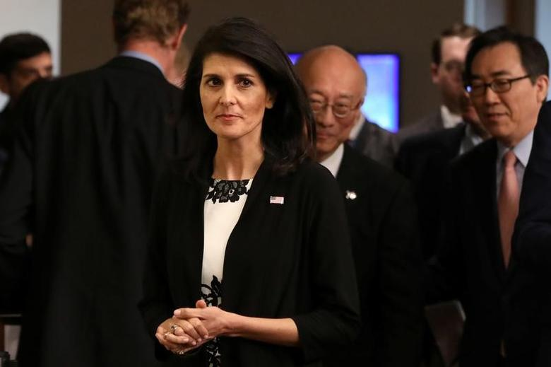 U.S. ambassador to the United Nations Nikki Haley walks at a press encounter after a meeting on North Korea's launch of ballistic missiles at the United Nations in New York, U.S., March 8, 2017. REUTERS/Shannon Stapleton -