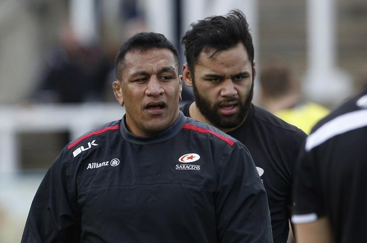 Britain Rugby Union - Newcastle Falcons v Saracens - Aviva Premiership - Kingston Park - 5/3/17 Saracens' Mako Vunipola (L) and Billy Vunipola in action during the warm up Mandatory Credit: Action Images / Craig Brough Livepic