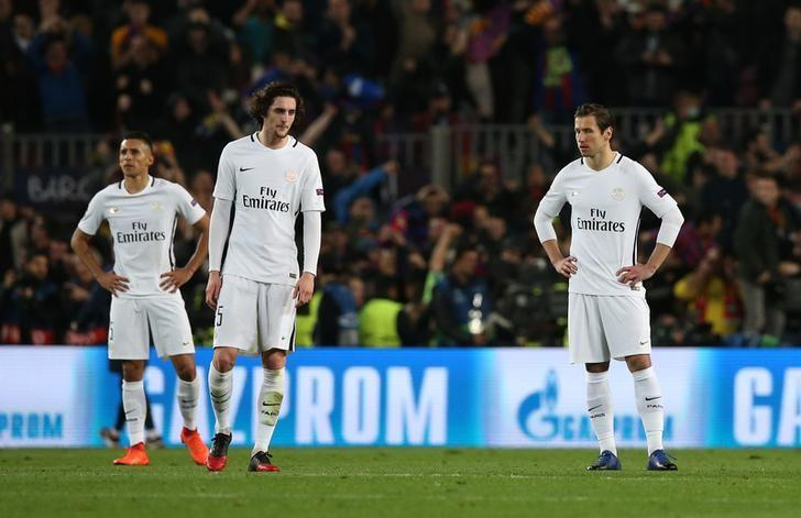 Football Soccer - Barcelona v Paris St Germain - UEFA Champions League Round of 16 Second Leg - The Nou Camp, Barcelona, Spain - 8/3/17 Paris Saint-Germain's Adrien Rabiot and Grzegorz Krychowiak look dejected  Reuters / Albert Gea Livepic