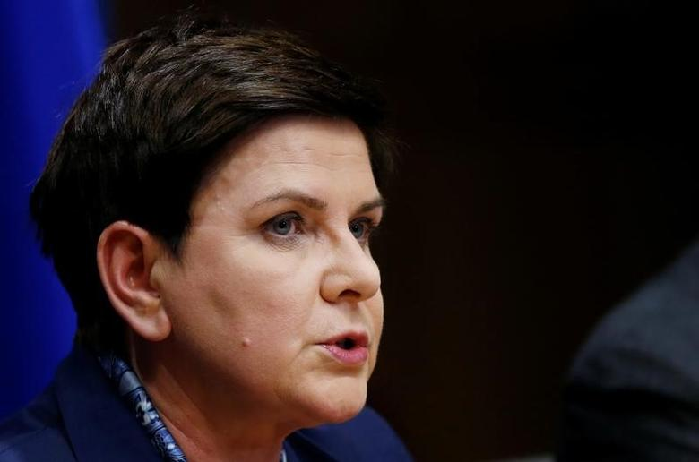Poland's Prime Minister Beata Szydlo briefs the media during a European Union leaders summit in Brussels, Belgium March 9, 2017. REUTERS/Francois Lenoir