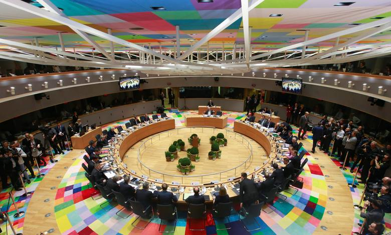 View of the meeting room during a European Union summit in Brussels, Belgium, March 9, 2017. REUTERS/Olivier Hoslet/Pool