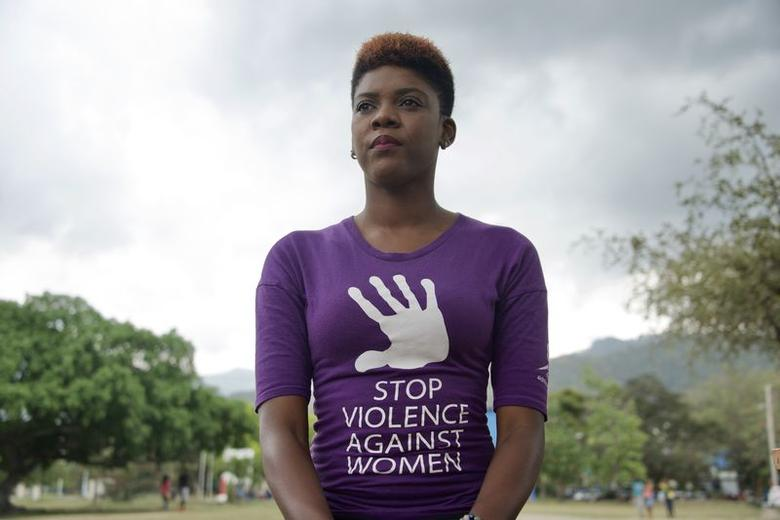 Abby-Sade Brooks, an organizer for the Caribbean #lifeinleggings movement fighting violence against women, poses on the campus of the University of the West Indies in Kingston, Jamaica ahead of women's marches planned on Saturday in seven Caribbean nations, March 8, 2017. Thomson Reuters Foundation / Rebekah Kebede