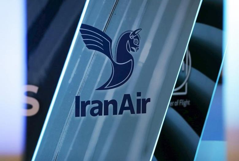 The logo of IranAir is pictured as the company IranAir takes delivery of the first new Western jet under an international sanctions deal in Colomiers, near Toulouse, France, January 11, 2017.   REUTERS/Regis Duvignau