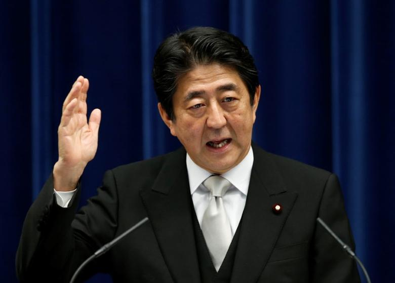 FILE PHOTO: Japan's Prime Minister Shinzo Abe speaks at a news conference at his official residence in Tokyo, Japan, August 3, 2016. REUTERS/Kim Kyung-Hoon