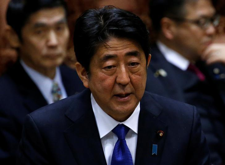 Japan's Prime Minister Shinzo Abe attends the upper house parliamentary session after reports on North Korea's missile launches, in Tokyo, Japan, March 6, 2017.REUTERS/Issei Kato