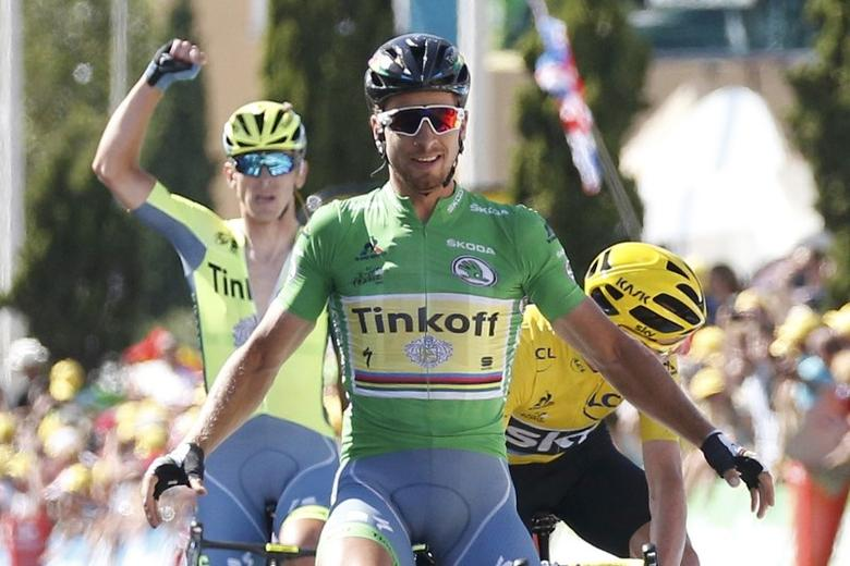 Tour de France cycling race - The 162.5 km (101 miles) Stage 11 from Carcassone to Montpellier, France - 13/07/2016 - Tinkoff team rider Peter Sagan of Slovakia wins on the finish line.    REUTERS/Juan Medina  Picture Supplied by Action Images