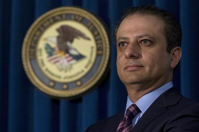 3月11日、ニューヨークのバララ連邦検事(写真)は、トランプ政権から解任されたことを明らかにした。2015年10月撮影(2017年 ロイター/Brendan McDermid)