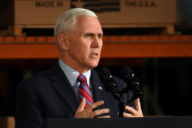 U.S. Vice President Mike Pence speaks  about the American Health Care Act during a visit to the Harshaw-Trane Parts and Distribution Center in Louisville, Kentucky, U.S., March 11, 2017.  REUTERS/Bryan Woolston