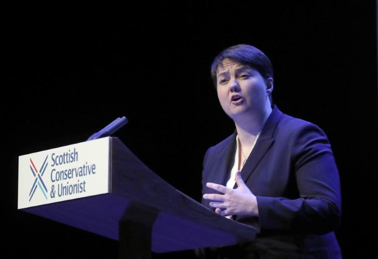 Ruth Davidson the leader of the Scottish Conservatives, speaks before introducing Britain's Prime Minister, Theresa May, at the Conservative Party's Scottish conference in Glasgow, Scotland March 3, 2017.   REUTERS/Russell Cheyne