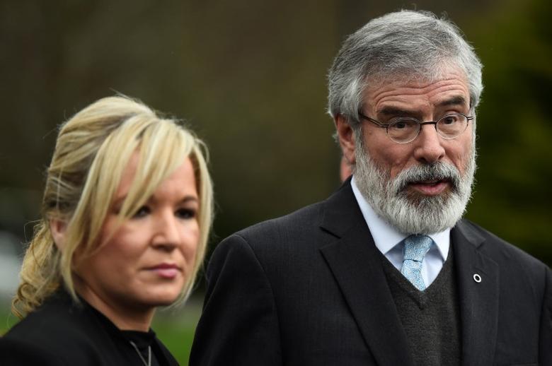 Sinn Fein President Gerry Adams and Sinn Fein leader Michelle O'Neill speak to media outside Stormont Castle in Belfast, Northern Ireland March 7, 2017. REUTERS/Clodagh Kilcoyne
