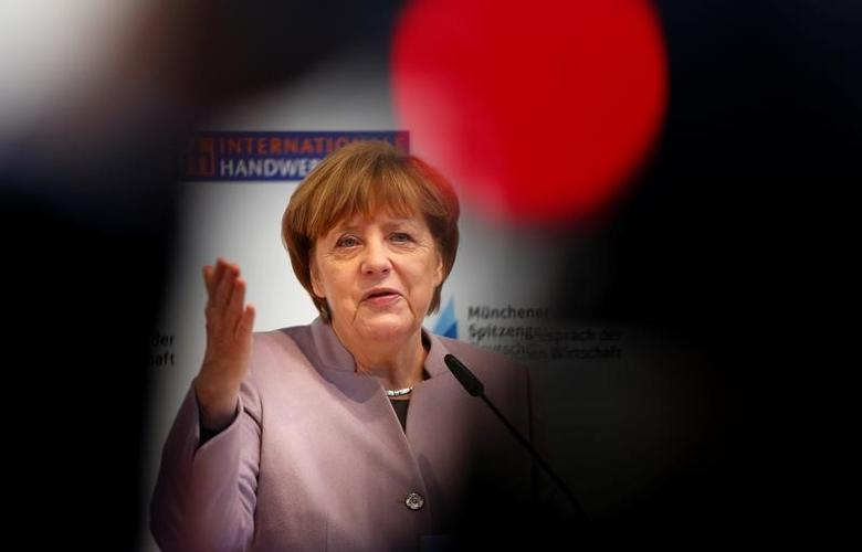 German Chancellor and head of the Christian Democratic Union (CDU) Angela Merkel speaks at a news conference during the International Trade Fair in Munich, Germany, March 13, 2017. REUTERS/Michaela Rehle -