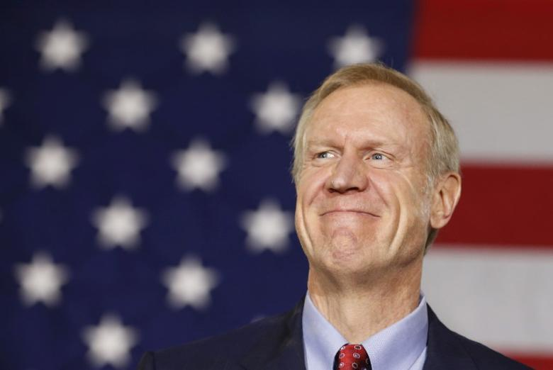 Republican Bruce Rauner smiles after winning the midterm elections in Chicago, Illinois, November 4, 2014.  REUTERS/Jim Young