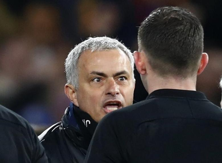 Britain Football Soccer - Chelsea v Manchester United - FA Cup Quarter Final - Stamford Bridge - 13/3/17 Manchester United manager Jose Mourinho remonstrates with referee Michael Oliver after the match Reuters / Eddie Keogh Livepic EDITORIAL USE ONLY. No use with unauthorized audio, video, data, fixture lists, club/league logos or ''live'' services. Online in-match use limited to 45 images, no video emulation. No use in betting, games or single club/league/player publications.  Please contact your account representative for further details. - RTX30VAD