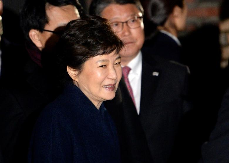 South Korea's ousted leader Park Geun-hye arrives at her private house in Seoul, South Korea, March 12, 2017.  Ahn Eun-na/News1 via REUTERS