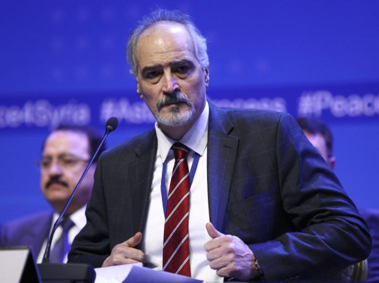 Bashar al-Jaafari, the head of the delegation representing Syrian President Bashar al-Assad, attends a news conference following Syria peace talks in Astana, Kazakhstan January 24, 2017. REUTERS/Mukhtar Kholdorbekov