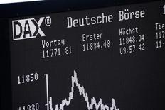 Табло с динамикой индекса DAX на бирже Франфурта-на-Майне. Европейские фондовые рынки снизились во вторник на фоне неопределённости в преддверии выборов в Нидерландах и решения ФРС о ставках позднее на этой неделе.  REUTERS/Ralph Orlowski