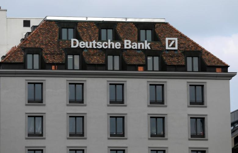 A logo is pictured on the Deutsche Bank building in Geneva, Switzerland, October 11, 2016.  REUTERS/Denis Balibouse/File Photo