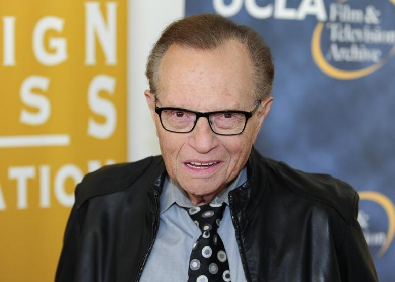 Television and radio host Larry King arrives at the opening night of the UCLA Film and Television Archive film series ''Champion: The Stanley Kramer Centennial'' and the world premiere screening of the newly restored ''Death of a Salesman'' in Los Angeles, California August 9, 2013. REUTERS/Gus Ruelas/Files