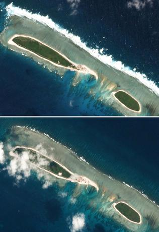 Combination of satellite photos shows Chinese-controlled North Island, part of the Paracel Islands group in the South China Sea, on February 15, 2017 (top) and on March 6, 2017. Planet Labs/Handout via REUTERS
