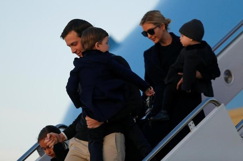 White House Senior Advisor Jared Kushner, his wife Ivanka Trump and their children Arabella (L-R), Joseph and Theodore arrive aboard Air Force One, returning to Washington with U.S. President Donald Trump from a weekend in Florida, at Joint Base Andrews, Maryland, U.S. March 5, 2017. REUTERS/Jonathan Ernst