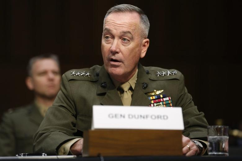 Joint Chiefs Chairman U.S. Marine General Joseph Dunford testifies on operations against the Islamic State, on Capitol Hill in Washington, U.S., in this file photo dated April 28, 2016. REUTERS/Jonathan Ernst