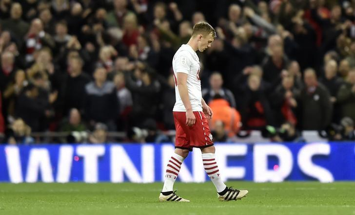 Britain Soccer Football - Southampton v Manchester United - EFL Cup Final - Wembley Stadium - 26/2/17 Southampton's James Ward-Prowse looks dejected after the game  Reuters / Hannah McKay Livepic