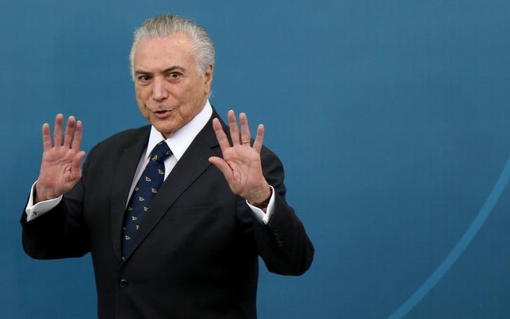 Brazil's President Michel Temer gestures during a ceremony at the Planalto Palace in Brasilia, Brazil, March 7, 2017. REUTERS/Adriano Machado/Files