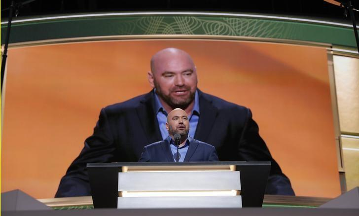 UFC fight promoter Dana White speaks on behalf of his friend, Republican presidential nominee Donald Trump, during the second session of the Republican National Convention in Cleveland, Ohio, U.S. July 19, 2016.  REUTERS/Brian Snyder