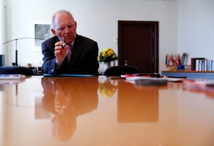 German Finance Minister Wolfgang Schaeuble speaks during an interview with Reuters at the Finance Ministry in Berlin, Germany, March 15, 2017. Picture taken March 15, 2017. REUTERS/Fabrizio Bensch