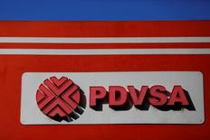 The logo of the Venezuelan state oil company PDVSA is seen at a gas station in Caracas, Venezuela March 2, 2017. REUTERS/Carlos Garcia Rawlins