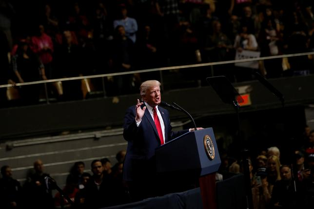 U.S. President Donald Trump holds a rally at Municipal Auditorium in Nashville, Tennessee, U.S. March 15, 2017. REUTERS/Jonathan Ernst