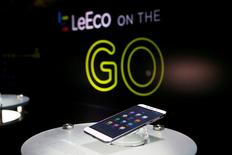 FILE PHOTO: LeEco's new Le Pro3 phone is on display during a press event in San Francisco, California, U.S. October 19, 2016.  RETUERS/Beck Diefenbach/File Photo