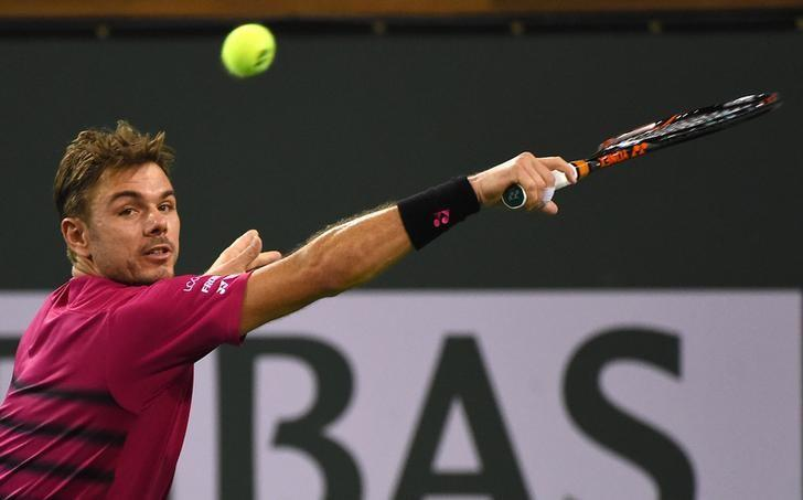 Mar 16, 2017; Indian Wells, CA, USA; Stan Wawrinka (SUI) as he defeated Dominic Theim (AUT) in the quarter final match in the BNP Paribas Open at the Indian Wells Tennis Garden. Wawrinka won 6-4, 4-6, 7-6. Mandatory Credit: Jayne Kamin-Oncea-USA TODAY Sports