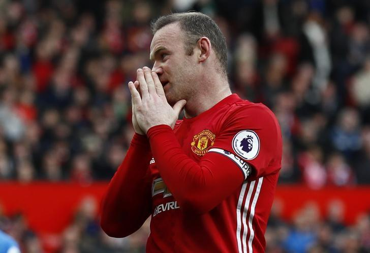 Britain Soccer Football - Manchester United v AFC Bournemouth - Premier League - Old Trafford - 4/3/17 Manchester United's Wayne Rooney reacts Action Images via Reuters / Jason Cairnduff Livepic
