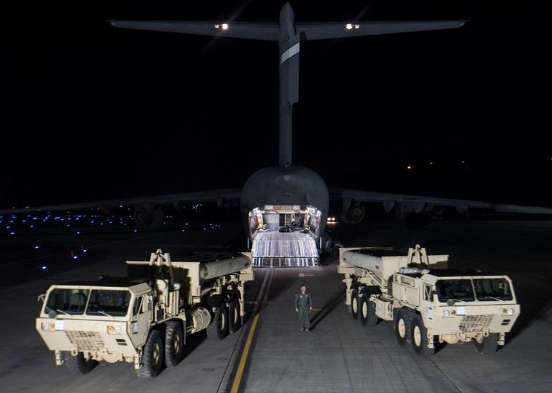 Terminal High Altitude Area Defense (THAAD) interceptors arrive at Osan Air Base in Pyeongtaek, South Korea, in this handout picture provided by the United States Forces Korea (USFK) and released by Yonhap on March 7, 2017. Picture taken on March 6, 2017.    USFK/Yonhap via REUTERS