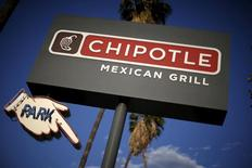 Signage for a Chipotle Mexican Grill is seen in Los Angeles, California, United States, April 25, 2016. REUTERS/Lucy Nicholson/File Photo