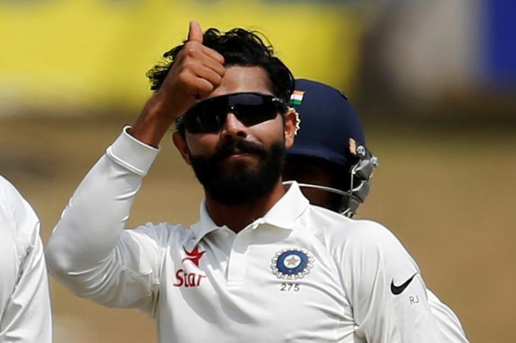 Cricket - India v Australia - Third Test cricket match - Jharkhand State Cricket Association Stadium, Ranchi, India - 17/03/17 - India's Ravindra Jadeja celebrates after dismissing Australia's Nathan Lyon. REUTERS/Adnan Abidi