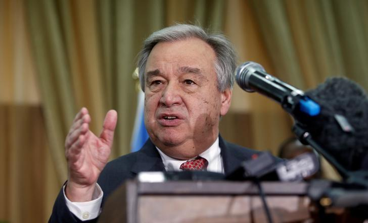 U.N. Secretary general Antonio Guterres addresses a news conference after his meeting with Somali President Mohamed Abdullahi Mohamed in Somalia's capital Mogadishu March 7, 2017 REUTERS/Feisal Omar
