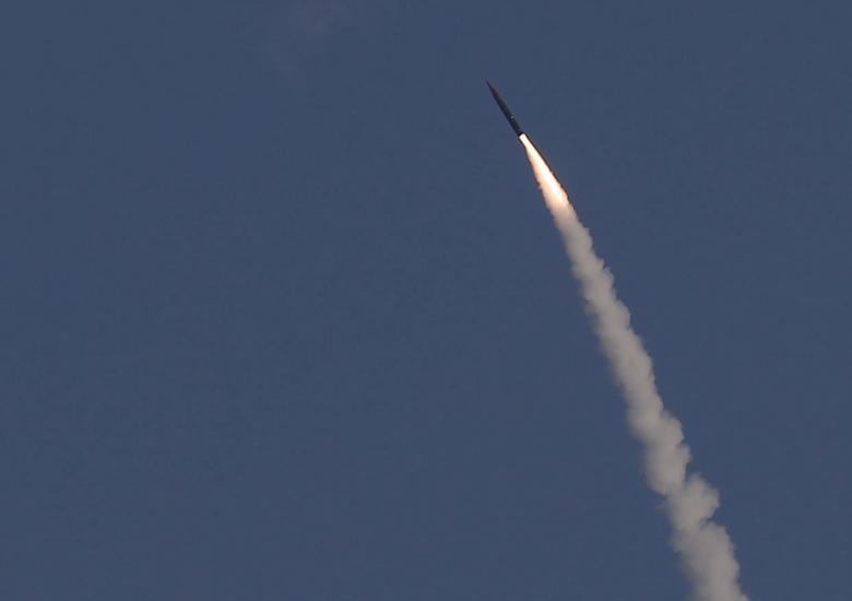 An ''Arrow 3'' ballistic missile interceptor is seen during a 2015 test launch near Ashdod.  REUTERS/Amir Cohen