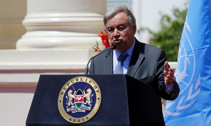 U.N. Secretary general Antonio Guterres address a news conference after holding a meeting with Kenya's President Uhuru Kenyatta at the State House in Nairobi, Kenya, March 8, 2017. REUTERS/Thomas Mukoya