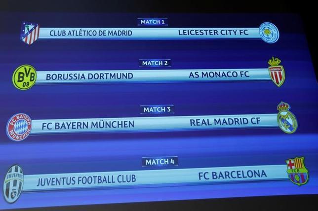 3月17日、サッカーの欧州CL準々決勝の組み合わせ抽選が行われ、岡崎慎司が所属するレスターは過去3シーズンで準優勝2回のアトレチコ・マドリードと対戦することに(2017年 ロイター/Denis Balibouse)