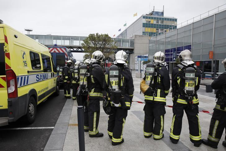 Emergency services at Orly airport southern terminal after a shooting incident near Paris, France March 18, 2017.  REUTERS/Benoit Tessier