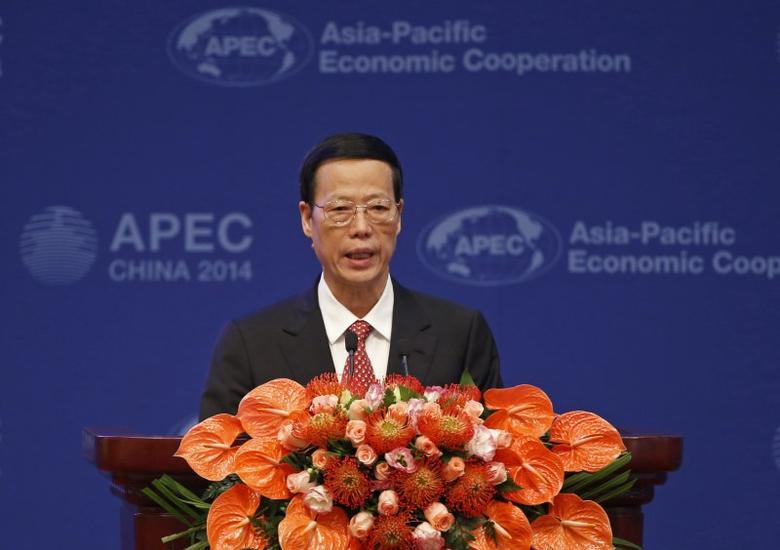 FILE PHOTO: Chinese Vice Premier Zhang Gaoli makes a speech at the Asia-Pacific Economic Cooperation (APEC) finance ministers meeting opening ceremony in Beijing October 22, 2014. REUTERS/Kim Kyung-Hoon