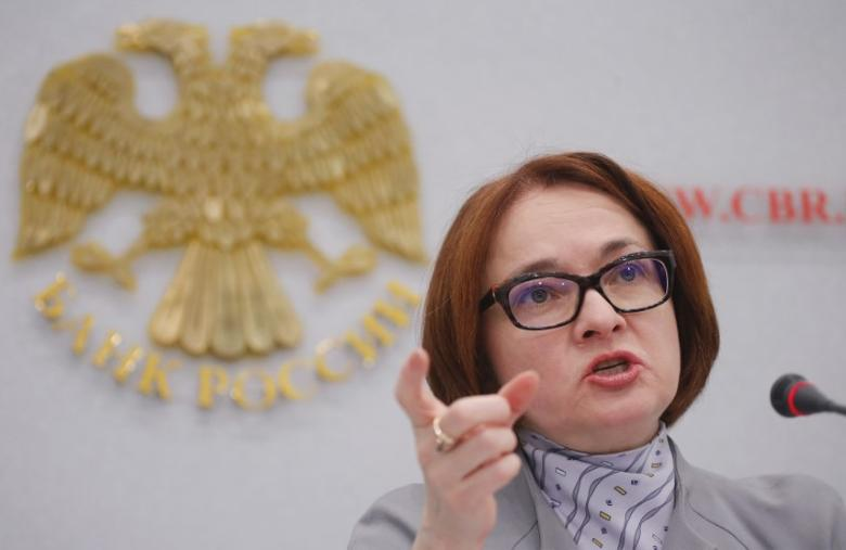 Russian central bank governor Elvira Nabiullina gestures during a news conference in Moscow, Russia, December 16, 2016. REUTERS/Maxim Shemetov - RTX2VBU1